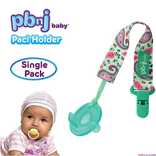 PBnJ baby Pacifier Clip Holder Strap Leash Tether for Boys and Girls with Safe Plastic Clip (Green Paisley - (Pink Paisley Monkey)