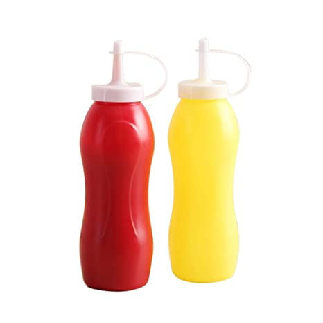 Gorgebuy Dispensador plástico de la botella de la mostaza del apretón de la salsa de tomate