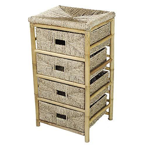 Bamboo Storage Drawer - 4 Drawer Storage Chest with Seagrass Wicker Baskets - Brown ()