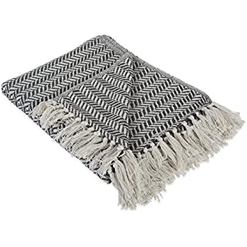 """DII Modern Farmhouse Cotton Herringbone Blanket Throw with Fringe For Chair, Couch, Picnic, Camping, Beach, & Everyday Use , 50 x 60"""" - Herringbone Chevron Mineral Gray"""