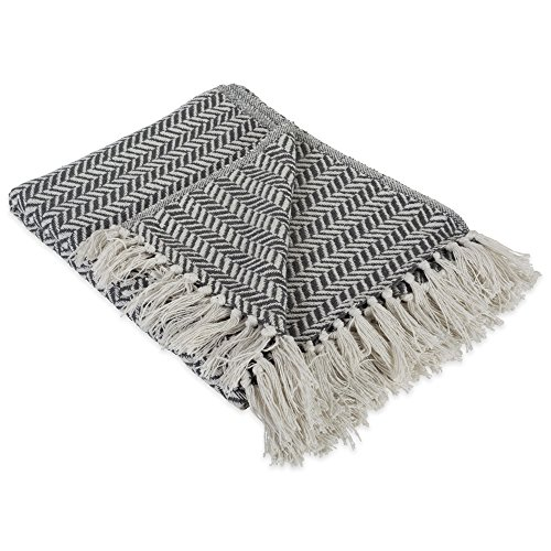 - DII Modern Farmhouse Cotton Herringbone Blanket Throw with Fringe For Chair, Couch, Picnic, Camping, Beach, & Everyday Use , 50 x 60