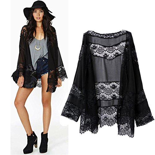 TOPUNDER Women Lace Splicing Hollow Chiffon Kimono Cardigan Blouse Coat Tops (M, Black) (Cardigan Beaded Black Jacket Top)