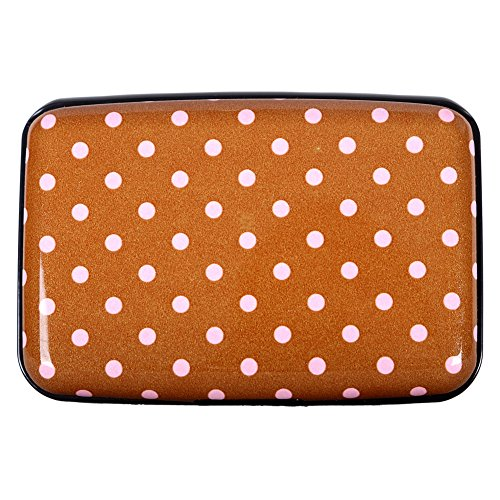 Aluminum Wallet RFID Blocking Metal ID Business and Credit Card Holder Hard Case for Women (Chocolate Dot) (Metal Wallet As Seen On Tv)