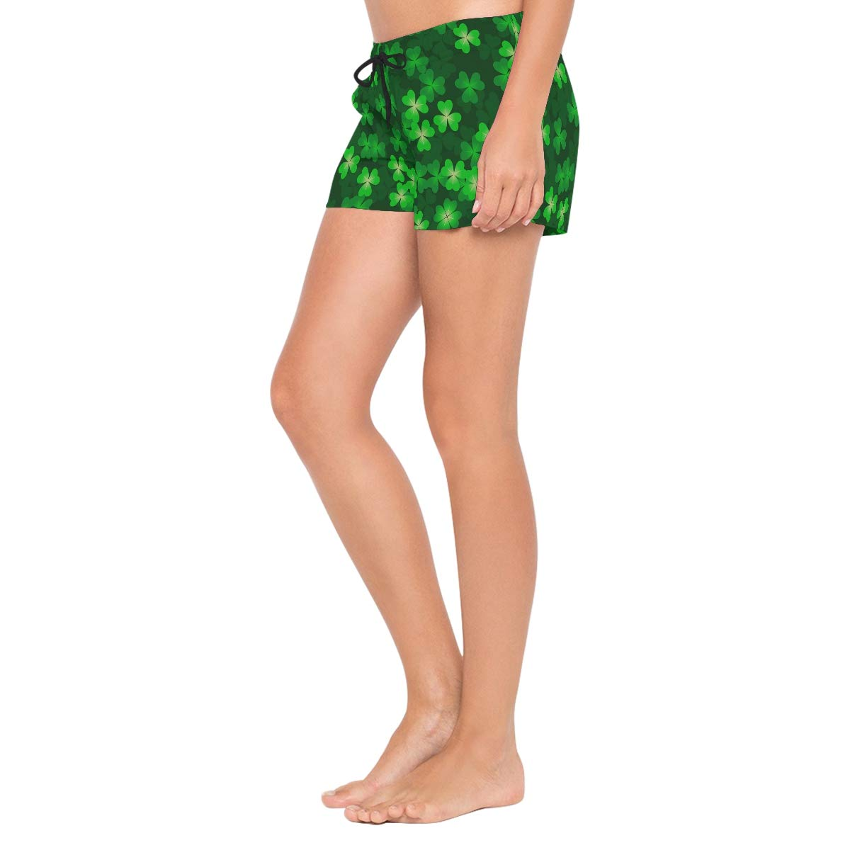 L Seamless Lucky Clover Leaves Womens Board Shorts with Pockets Quick Dry Drawstring Beach Swim Trunks S