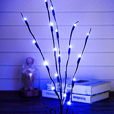 Pack of 10 LED Light Olive Branch Lighted Tree Branches LIT Night Light Centerpieces Artificial Willow Twig Ideal Home Living Room Lighting Decoration, Holiday Wedding Accent, Battery Operated (Blue)