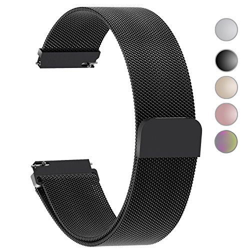 5 Colors for Quick Release Watch Strap, Fullmosa Milanese Magnetic Closure Stainless Steel Watch Band Replacement Strap for 20mm Black