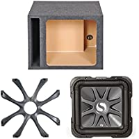 Kicker 11S15L74 2000 Watt 15 Inch Black Car Audio Subwoofer - Bundle Combo with Kicker 08GL715 Square 15 Inch Subwoofer Grille, Q-Power 15SVSQ 15-Inch Single Vented Enclosure, L7 Square Hole