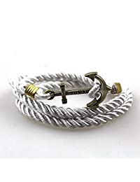 Men's Womens Alloy Nautical Anchor Multi-Strands Braided Wrap Cuff Bracelet Adjustable