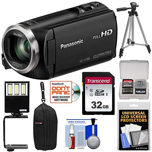 Panasonic HC-V180 HD Video Camera Camcorder with 32GB Card + Case + Tripod + LED Light + Kit