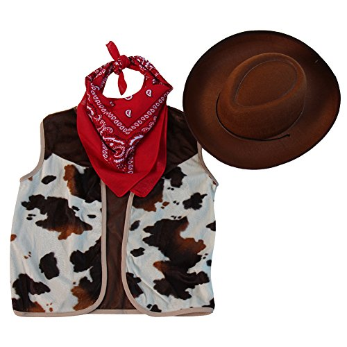 Kids Western Rodeo Cowboy or Cowgirl Basic Costume Set - Vest, Hat, Bandanna, Size 4/6