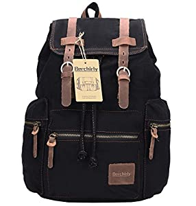Amazon.com : Berchirly Retro Casual Canvas Leather Backpack ...