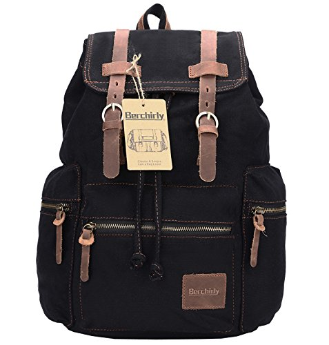 Berchirly Retro Casual Canvas Leather Backpack Rucksack Bookbag Hiking Outdoor Bag