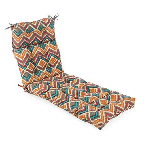 Red Blue Orange Fiesta Chevron Plump and Tufted Chaise Cushion Outdoor Patio Lounge Chair Cushion (Chaise Chevron)