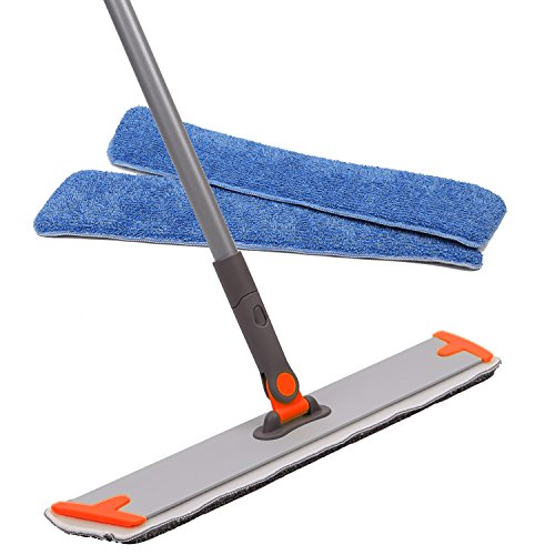 "18"" Professional Microfiber Mop - 3 Reusable Floor Mops Pad and 1 Dirt Removal Scrubber Included, Dust Mop for Hardwood Floor,Laminate and Tile Floor, Home and Kitchen Cleaning"