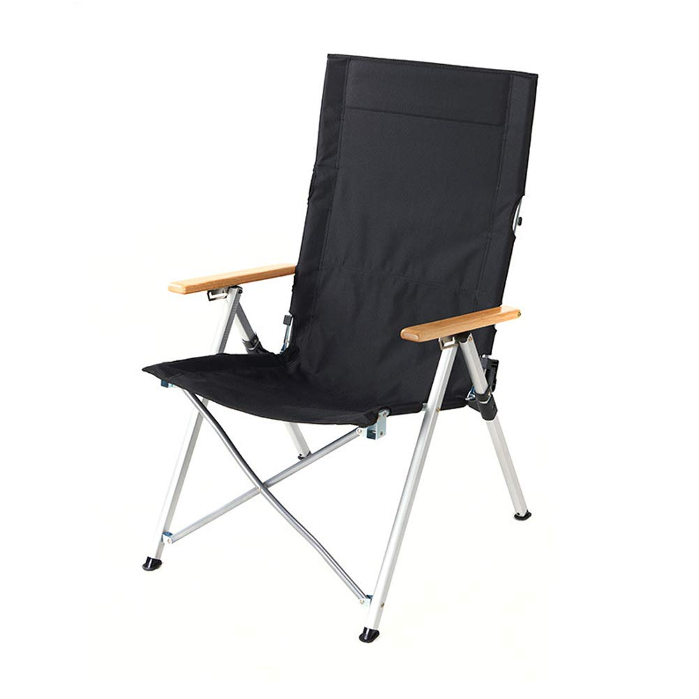 Outdoor Portable Aluminum Folding Chair Portable Recliner Fishing Sketch Chair Leisure Camping Beach Chair-Black