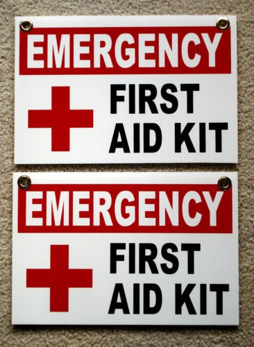VINBOX (2) EMERGENCY FIRST AID KIT SIGNS 8'', x12'', Plastic Coroplast Signs with Grommets from VINBOX