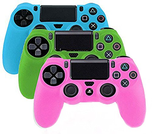 (YTTL® 3 Pack Glow in Dark PlayStation 4 Controller PlayStation 4 Gamepads PS4 Controller Glow-in-the-Dark Silicone Protective Skin Case Cover Sony PS4--Blue/Green/Pink)