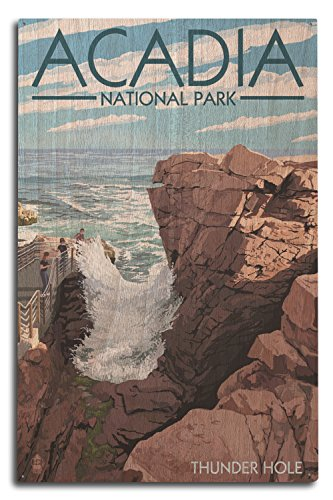 Lantern Press Acadia National Park, Maine - Thunder Hole Day (10x15 Wood Wall Sign, Wall Decor Ready to Hang)