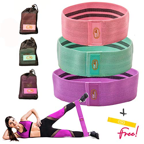 Booty Bands 3 Resistance Bands Set for Women - Hips Thighs Legs Shoulders Arms - Non-Slip Workout Exercise Bands. Heavy Duty Thick Fabric For Home Gym - Convenient Carrier Bag ()
