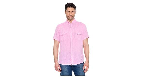Pedro del Hierro Camisa Lino Rosa Claro S: Amazon.es: Ropa y accesorios