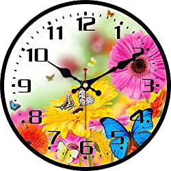 MEISTAR Wooden Office Decorative 14 Inch Wall Clock,Colorful Flowers and Butterfly Design Vintage Rustic Country Wall Clocks for Dining Room,Classroom