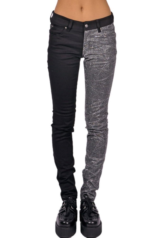 Tripp Gothic Punk Rocker Split Leg Vinyl PVC Silver Black Skinny Jeans Pants