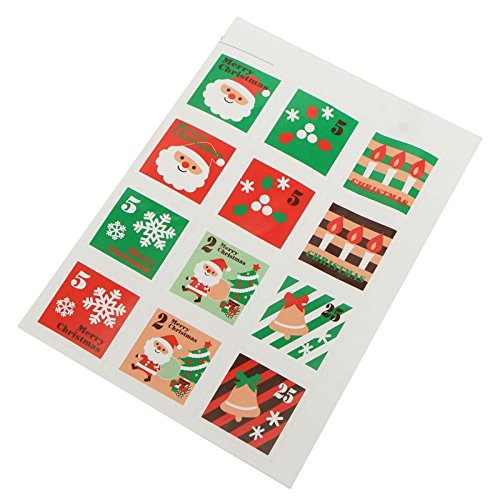 1PCS 12 Seals Merry Christmas Gift Sticker Wrapping Food Bag Decorative Sealing Sticker by Isguin