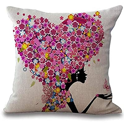 """BRIANNA SHINE Cotton Linen Girl with Pink Wing Elves and Butterflies New Decorative Pillowcase Throw Pillow Cushion Cover Square 18"""" 18"""" Home Life ¡"""