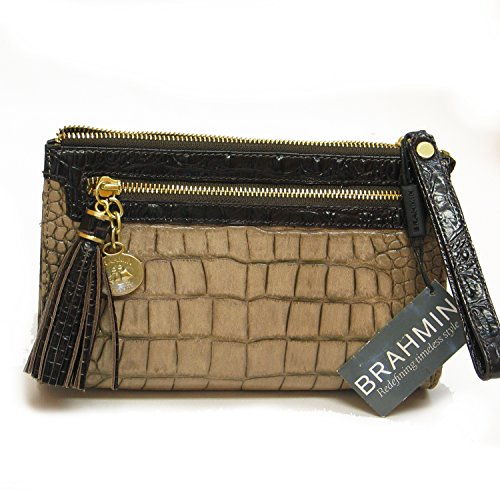 NEW AUTHENTIC BRAHMIN ANNA EXOTIC CROCO EMBOSSED LEATHER WRISTLET CLUTCH (Taupe Sienna) Croco Embossed Clutch