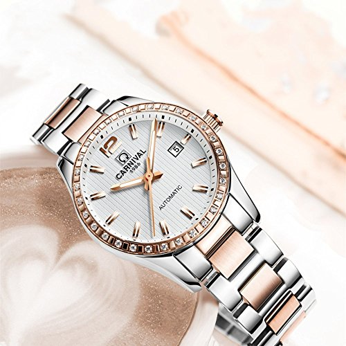 Couple Stainless Steel Automatic Mechanical Watch Sapphire Glass Watches for Her or His Gift Set 2 (Rose Gold/White) by MASTOP (Image #5)