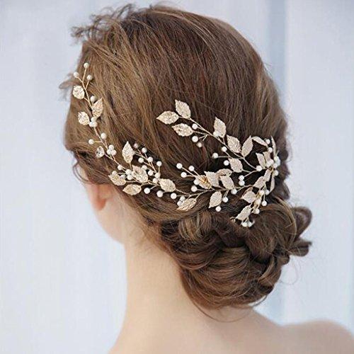 LTOOLA Bridal Tiara Handmade Jewelry Wedding Hair Band Wedding Accessories Gold Leaf Shape