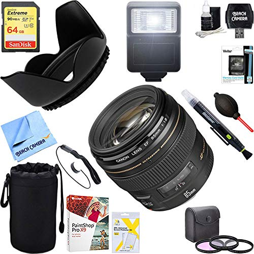 Canon (2519A003) EF 85mm f/1.8 USM Medium Telephoto Lens for Canon SLR Cameras 64GB Ultimate Filter & Flash Photography Bundle (Canon Zoom Lens Ef 28 80mm Ultrasonic)
