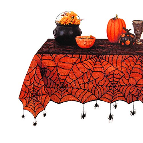 Elrene Halloween Tablecloth Spider Web Black Lace with Orange Peva Liner and Hanging Spiders for Dining, Dinner, Kitchen Table or Haunted House Decoration (60 x 84 Rectangle)
