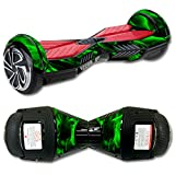 MightySkins Protective Vinyl Skin Decal for Self Balancing Board Scooter Hover 2 Wheel mini board unicycle bluetooth wrap cover sticker Green Flames
