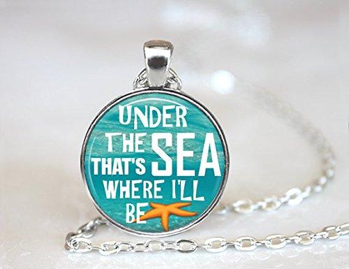 ON SALE Under The Sea Necklace Sea Quote Jewelry Orange Starfish Glass Pendant Life Guard Gift Surfer gift Marine Biologist Keepsake Sea Nec