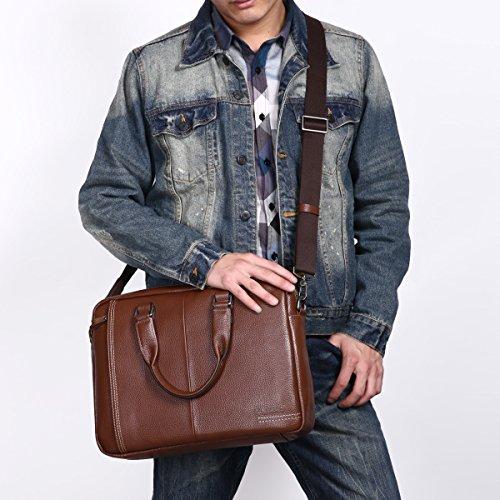 Leathario bolso bandolera o con mano para hombres de estilo simple con La primera capa de cuero de lichi para ordenador y trabajo. café