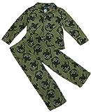 Jellifish Kids Boys 2-Piece Fleece Pajama Set, Khaki Dino, XS (4/5)