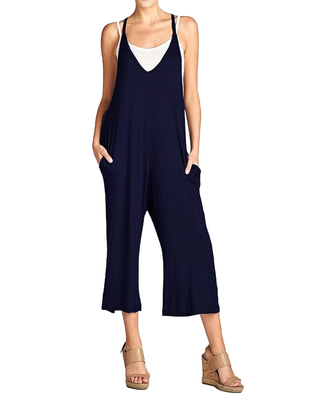 b8d1ab4522ef Style Dome Femme Combinaison Casual Jeans Sarouel Pantalon Salopette  Jumpsuit