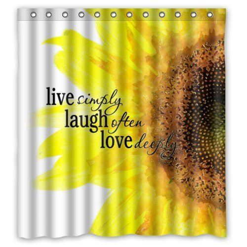 Waterproof Bathroom Fabric Shower Curtain Watercolor Sunflower Art With Live Laugh Love Quotes Print Design
