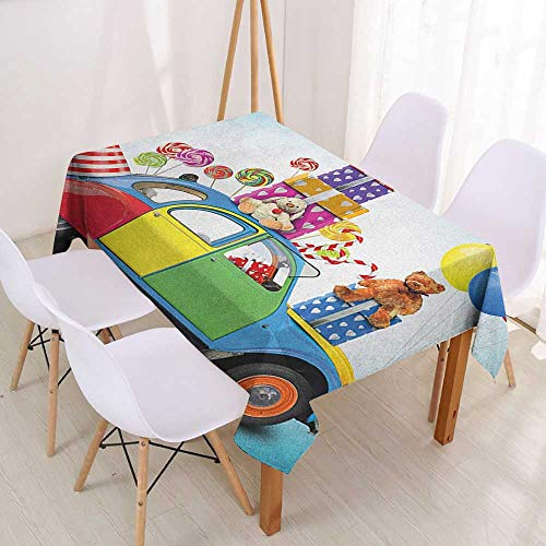 (Wendell Joshua Anti-Fading Tablecloths Birthday,Colorful Car with Presents Toys Holiday Lollipops Party Hat Balloons Celebration,Multicolor,for Rectangle Tables 39