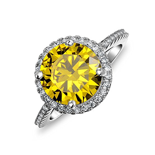 Sterling Silver Round Simulated Canary Yellow CZ Halo Engagement - Engagement Ca Rings