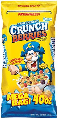 Cap'n Crunch Crunch Berries Breakfast Cereal, Mega Size 40 oz. Bag (Pack of 4 Bags)