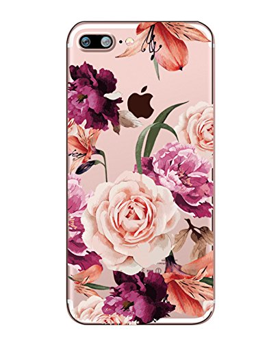 Price comparison product image iPhone 7 Plus Case with flowers, Hepix Clear Floral Pattern Soft Flexible TPU Back Cover[5.5 inch]