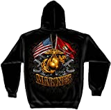 US Marine Corp Hooded Sweatshirt Double Flag Gold