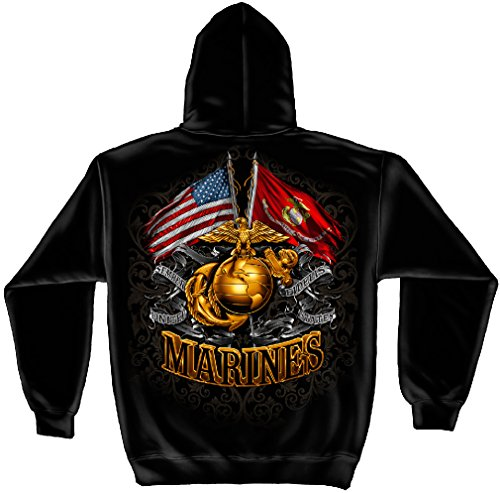 US Marine Corp Hooded Sweatshirt Double Flag Gold Globe Marine Corps Foil Stamp