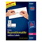 Avery Repositionable Mailing Labels for Laser Printers, 1 x 2.625, White, Repositionable, Pack of 750 (55360)