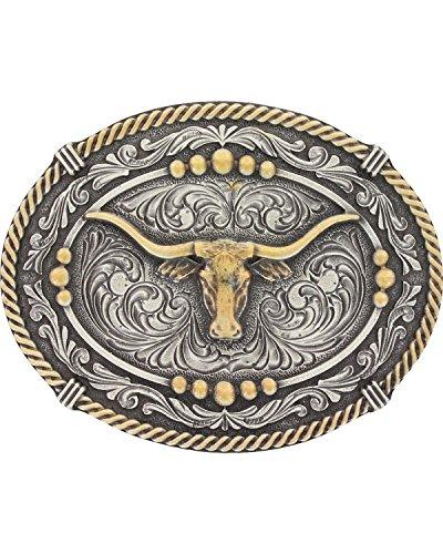 (Montana Silversmiths Men's Silver Two Tone Longhorn Steer Belt Buckle Silver One)