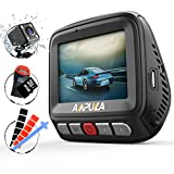 Ampulla Cruiser Dual Dash Cam, 1080P+720P Front and Rear Dash Cam 170°+160°Ultra Wide Angle Super Night Vision Dashboard Camera G-Sensor WDR Loop Recording LDWS (Installation Kit & 32GB Card Included)