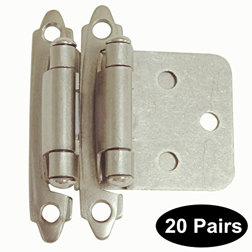 40 Pack(20 pairs) Brushed Satin Nickel Decorative Self Closing Face Mount Kitchen Cabinet Hinges Flush Variable Overlay