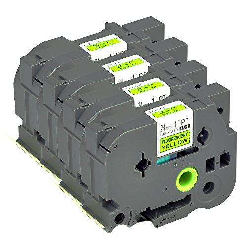 - Compatible P Touch Label Tape 4Pack TZC51 TZe Black on Fluorescent Yellow Cartridge Label Orison Self Adhesive 1'' Cassette Refills 0.94 Inch x 26.2Feet(24mm x8m)